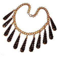 Fabulous 1940's Brass & Black Glass Dangles Vintage Necklace