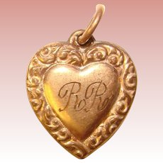 Gorgeous Antique Gold Filled PUFFY HEART Ornate Border Design