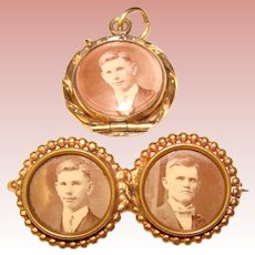Fabulous Antique Beveled GLASS LOCKET & Photo Brooch - Fine Young Men