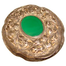 Fabulous 800 SILVER Chrysoprase Stone Engraved Vintage Compact