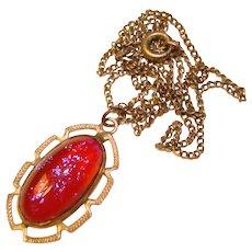 Fabulous STERLING Dragons Breath Glass Stone Vintage Pendant