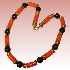 Fabulous ORANGE & BLACK Celluloid on Chain Deco Era Necklace