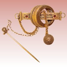 Fabulous VICTORIAN Ornate Garnet Glass Brooch