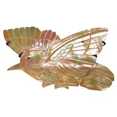 Fabulous Antique CARVED SHELL Bird Brooch