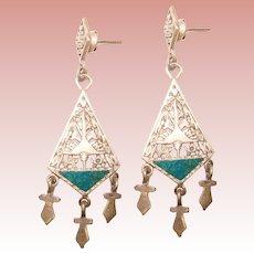 Fabulous Ornate STERLING & STONE Vintage Openwork Dangle Earrings