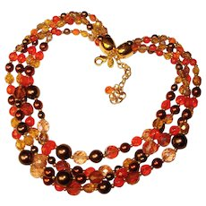 Fabulous JOAN RIVERS Signed Fall Colors Glass Bead Necklace