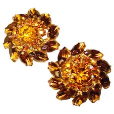 Fabulous AMBER TOPAZ BROWN Vintage Rhinestone Clip Earrings