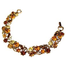 Gorgeous LISNER Signed Amber & Topaz Brown Vintage Rhinestone Bracelet