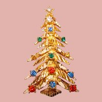 Fabulous ART Signed Vintage CHRISTMAS TREE Rhinestone Brooch