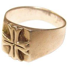 Awesome STERLING Maltese Cross Design Vintage Men's Ring