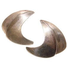 Awesome STERLING Modernist Design Vintage Signed Earrings