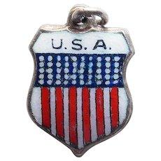 Sterling & Enamel USA Vintage Estate Charm - Souvenir of United States of America