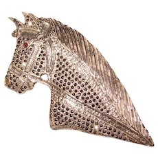 Fabulous STERLING Marcasite Horse Design Signed Brooch - By Brandt