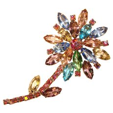 Fabulous Large COLORED RHINESTONE Vintage Flower Design Brooch