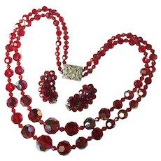 Fabulous RED AURORA CRYSTAL 2 Strand Vintage Estate Necklace Set