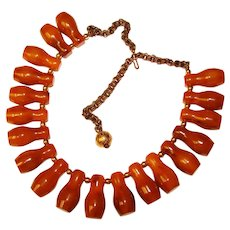 Fabulous BAKELITE Vintage Dark Amber Colored Elongated Beads Necklace