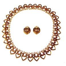 Fabulous TRIFARI Signed Heart Link Design Vintage Rhinestone Necklace Set