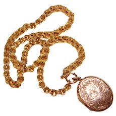 Fabulous Victorian Antique Engraved Locket Necklace