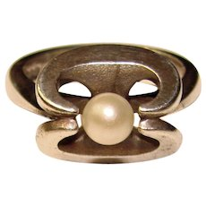 Fabulous STERLING Hallmarked Modernist Design Pearl Ring