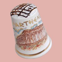 Vintage PARTHENON & Athena Porcelain Estate Thimble - Souvenir of Greece