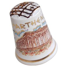 Vintage PARTHENON & Athena Porcelain Estate Thimble - Souvenir of Greece