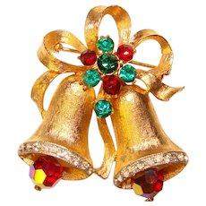 Festive Weiss Signed CHRISTMAS BELLS Rhinestone Vintage Brooch