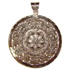 Gorgeous STERLING Large Patterned Disc Pendant