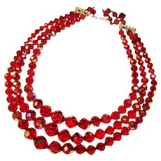 Fabulous RASPBERRY RED Aurora Crystal 3 Strand Vintage Necklace