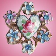 "Tiny Enamel & Rhinestone Vintage Mini Pin Brooch - 13/16"" For Doll or Lapel"