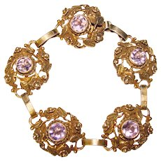Fabulous Gilt STERLING Purple Stones Vintage Bracelet