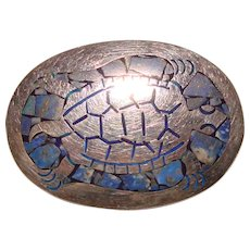 Fabulous TURTLE Mexican Sterling & Blue Mosaic Inlay Vintage Brooch