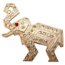 Fabulous ART DECO Figural Elephant Rhinestone Brooch