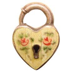 Fabulous STERLING ENAMEL Heart Lock Vintage Puffy Heart Charm Clasp