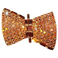 Fabulous Amber Aurora & Topaz Brown Vintage Rhinestone Brooch