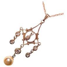 Fabulous Vintage STERLING Cultured Pearl & Clear Stones Lavalier Pendant Necklace