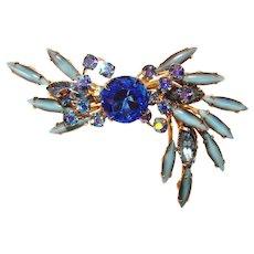 Fabulous JUDY LEE Milky Blue & Aurora Rhinestone Vintage Brooch
