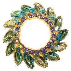 Gorgeous AQUA BLUE Aurora Rhinestone Vintage Brooch