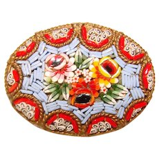 Gorgeous MICRO MOSAIC Micromosaic Vintage Estate Pin Brooch
