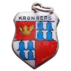 800 Silver & Enamel KRONBERG Vintage Estate Charm - Souvenir of Germany