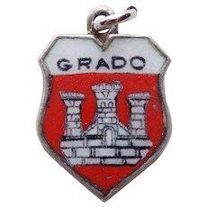 800 Silver & Enamel GRADO Vintage Estate Charm - Travel Souvenir of Italy