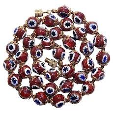 Gorgeous ITALIAN MILLEFIORI GLASS Beads Vintage Necklace - Brown Blue White