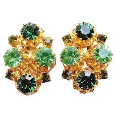 Gorgeous AUSTRIA Green Rhinestone Vintage Earrings
