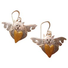 Fabulous FAR FETCHED Sterling Angel Cat Signed Earrings