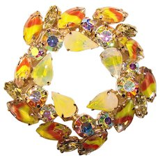 Fabulous Fall Colored Opalescent GIVRE GLASS Vintage Rhinestone Brooch