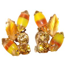 Fabulous Fall Colored Opalescent GIVRE GLASS Vintage Rhinestone Clip Earrings