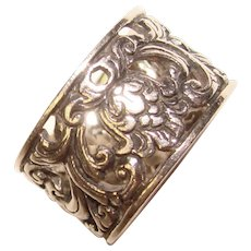 Fabulous STERLING Wide Ornate Design Vintage Ring