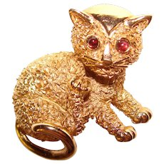 Awesome Vintage TRIFARI Cat Brooch With Red Stone Eyes