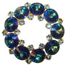 Fabulous Vintage BLUE RIVOLI Rhinestone Brooch