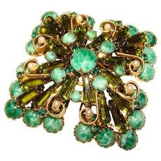Fabulous D&E JULIANA Green Glass & Rhinestone Huge Vintage Brooch