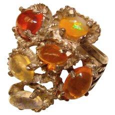 Fabulous STERLING & OPAL Vintage Multi Stone Ring